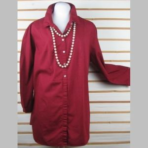 Deep burgundy buttoned top tab & button sleeves